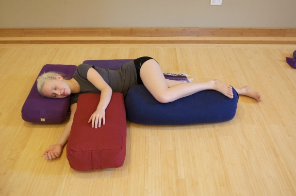 Breast Cancer Yoga's Side Child Yoga Pose