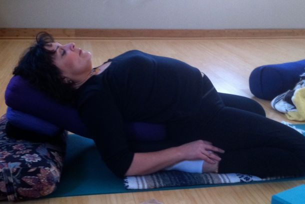 Reclined Restorative Yoga Pose For Breast Cancer