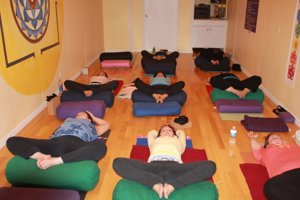 Reclined Betterfly Yoga Pose For Breast Cancer
