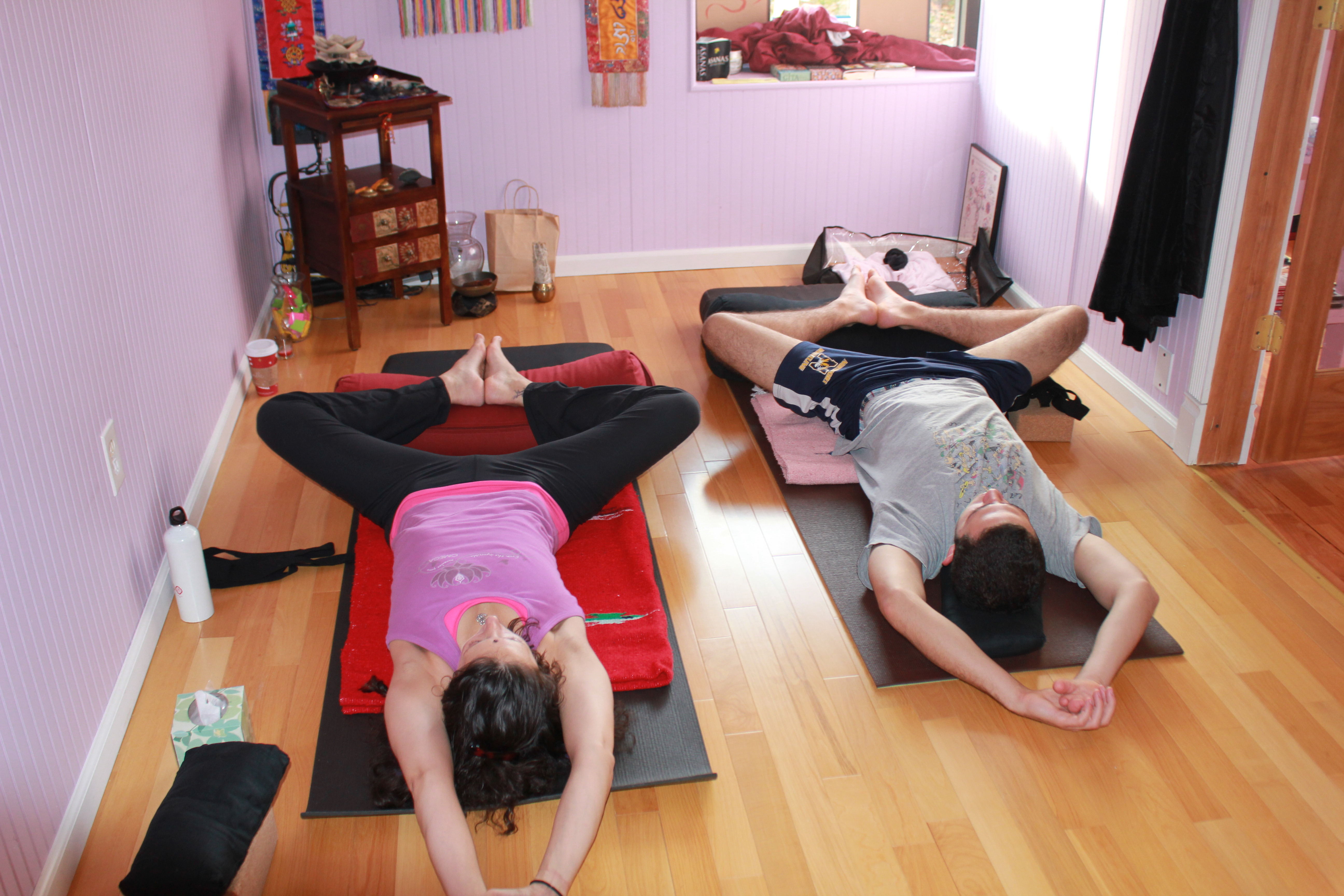 Reclined Butter Fly Restorative Yoga Pose – Breast Cancer ...