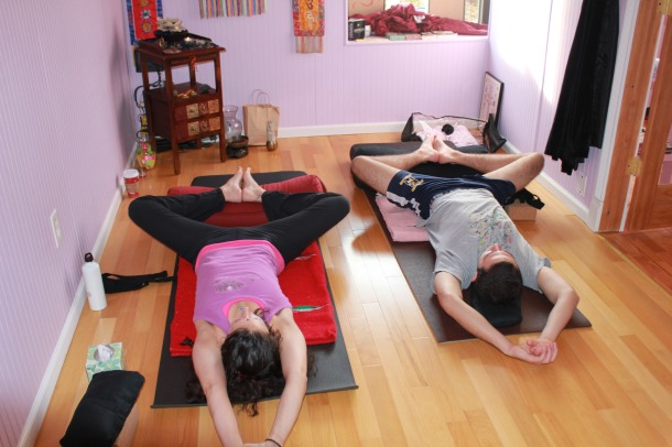 Reclined Butter Fly Restorative Yoga Pose