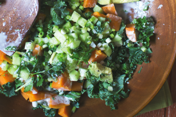 Meatless Monday Sweet Potato, Kale & Avocado Salad