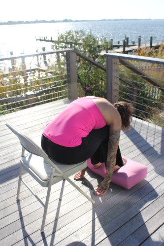 Forward Fold Yoga Pose For Breast Cancer
