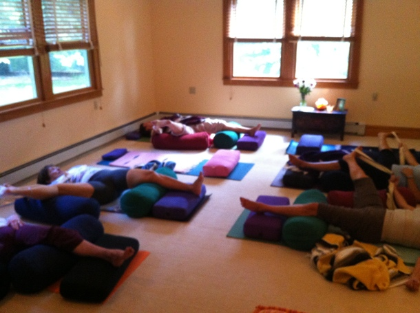 Reclined Dancer Yoga Pose For Breast Cancer