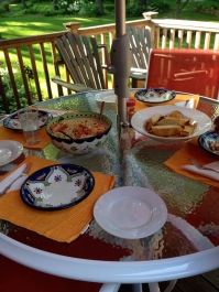Summer Pasta Served Outdoors