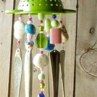 Green Colander Siverware Wind Chime