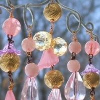 Pink Beaded Wind Chime For Garden