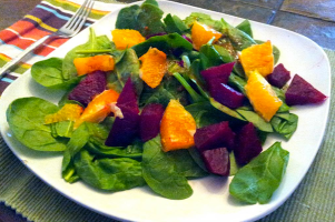 Spinach, Oranges & Beet Salad