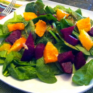 Spinach, Oranges & Beet Salad