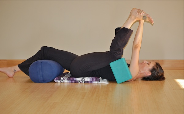 Half Happy Baby Restorative Yoga Pose For Cancer