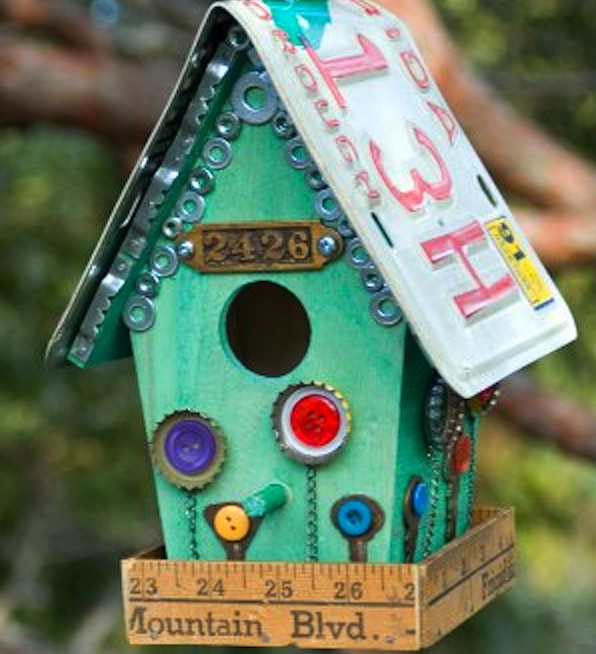 Junk Store Bird House Tutorial For Breast Cancer Healing Garden