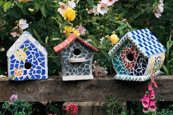 Mosaic Bird Houses For Breast Cancer Hraling Garden