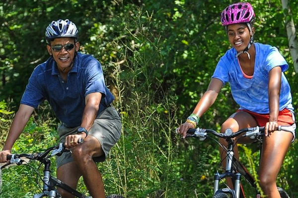 The Obama Family Exercising