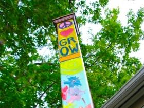Peace Pole in Healing Garden